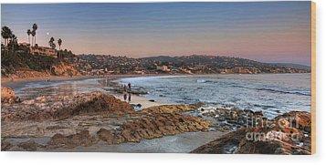 Laguna Beach Panorama Wood Print by Eddie Yerkish