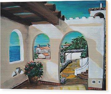 Laguna Beach Sun Patio Wood Print by Mitchell McClenney