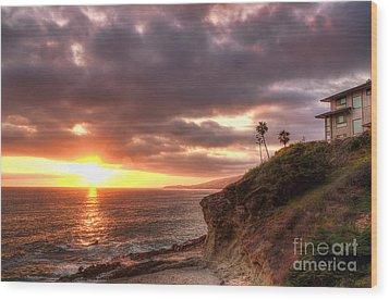 Laguna Beach Sunset Wood Print by Eddie Yerkish