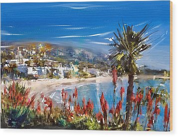 Laguna Sparkle Wood Print by Russell Pierce