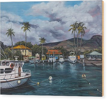 Wood Print featuring the painting Lahaina Harbor by Darice Machel McGuire