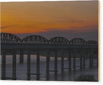 Lake Amistad Sunset Wood Print by Amber Kresge