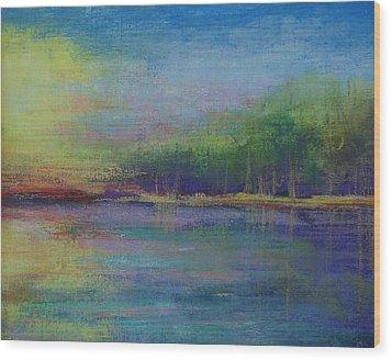 Lake At Sundown Wood Print