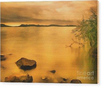 Lake Balaton Sunset Paint Wood Print by Odon Czintos