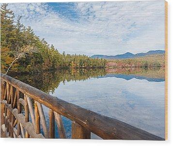 Lake Chocorua And Mount Chocorua From Bridge  Wood Print by Karen Stephenson
