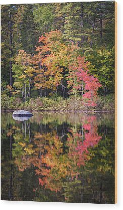 Lake Chocorua Moment Of Reflection Wood Print by Karen Stephenson