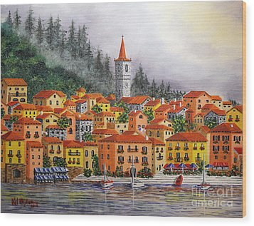 Lake Como Italy Wood Print by Val Miller