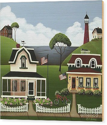Lake Cottages Wood Print by Catherine Holman