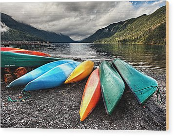 Lake Crescent Kayaks Wood Print