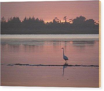 Lake Earl Sunset  Wood Print by Gracia  Molloy
