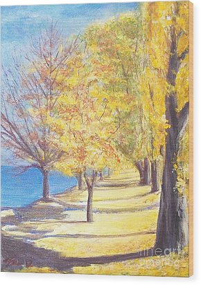 Wood Print featuring the painting Lake Explanade Queenstown Nz by Jane  See