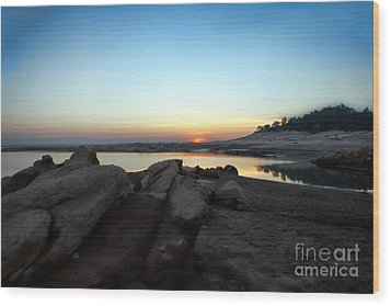 Lake Folsom California Rocky Sunset Wood Print by Polly Peacock