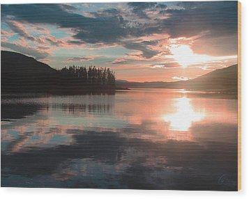 Lake Granby Sunset Wood Print by Chris Thomas