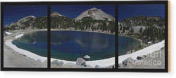 Lake Helen At Mt Lassen Triptych Wood Print by Peter Piatt