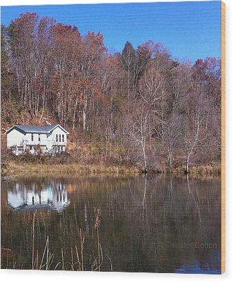 Lake House Blue Sky Wood Print by Cleaster Cotton