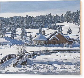 Lake House In Snow Wood Print