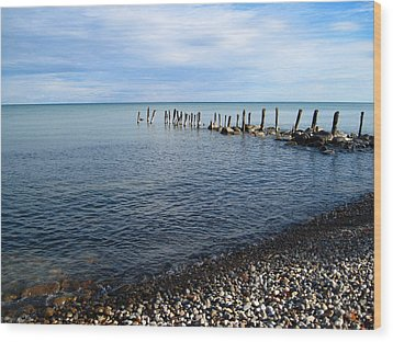 Lake Huron Pilings Wood Print