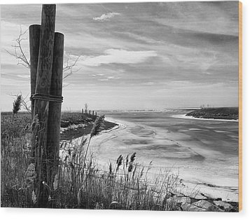 Lake Ice Bw Wood Print by Peter Chilelli