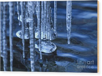 Lake Ice Wood Print by Charline Xia