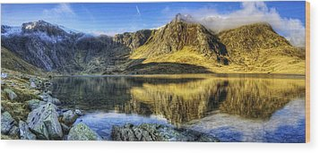 Lake Idwal Panorama Wood Print by Ian Mitchell