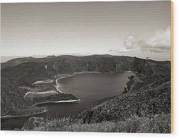 Lake In A Crater Wood Print