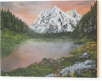 Wood Print featuring the painting Lake In Austria by Jean Walker