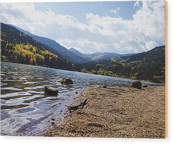 Lake In Colorado Rockies Wood Print
