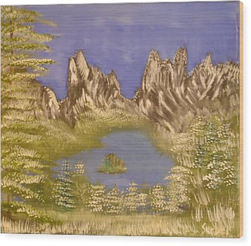 Lake In Glacier Wood Print