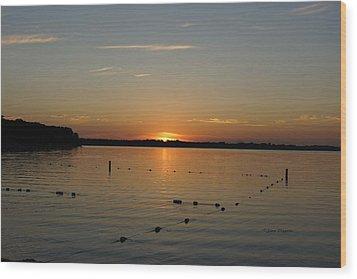 Lake Le Homme Dieu Sunset Wood Print by Steven Clipperton