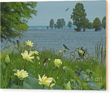 Wood Print featuring the photograph Lake Lotus And Swallows by Deborah Smith