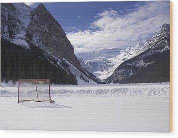Lake Louise Hockey Net Wood Print by Bill Cubitt