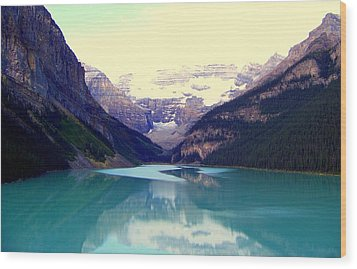 Lake Louise Stillness Wood Print by Karen Wiles