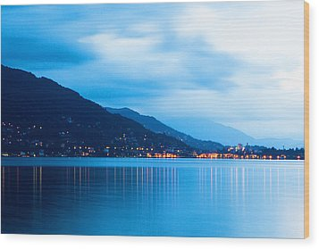 Lake Maggiore Before Sunrise Wood Print by Susan Schmitz