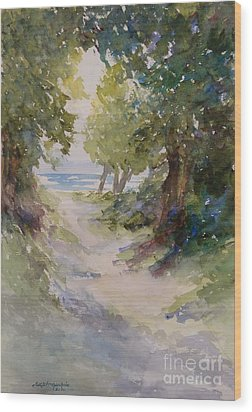 Lake Michigan Beach Path Wood Print by Sandra Strohschein