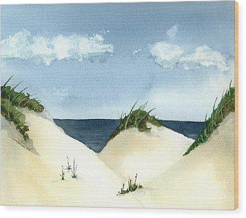 Lake Michigan Dunes Wood Print by Lynn Babineau