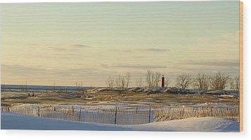 Lake Michigan Lighthouse Muskegon Michigan In Winter Wood Print by Rosemarie E Seppala