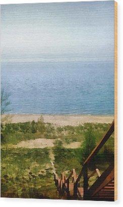 Lake Michigan Staircase Wood Print by Michelle Calkins