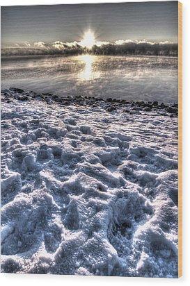 Lake Mjosa Sunset Wood Print by Chris Shirley