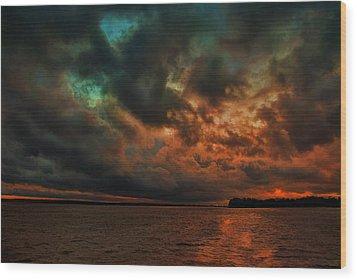 Lake Murray Fire Sky Wood Print by Steven Richardson
