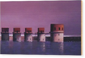 Lake Murray Towers In Evening Wood Print by Blue Sky