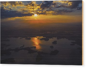 Lake Norman Sunrise Wood Print by Greg Reed
