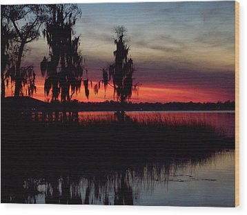 Lake On Fire Wood Print