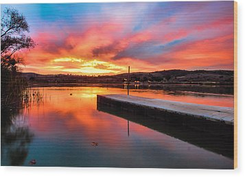 Wood Print featuring the photograph Lake Oneil Sunset by Robert  Aycock