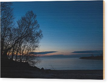 Wood Print featuring the photograph Lake Ontario Blue Hour by Georgia Mizuleva