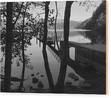 Lake Padden Reflection In Black And White Wood Print by Karen Molenaar Terrell