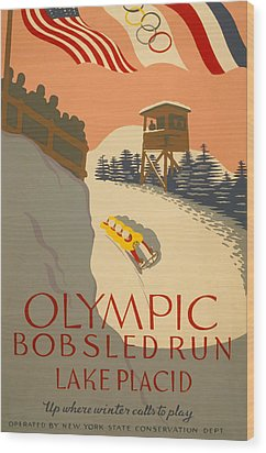 Lake Placid  Bobsled Olyimics Wood Print by American Classic Art