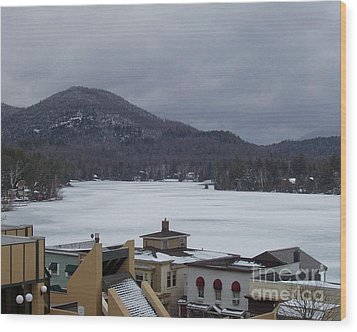 Wood Print featuring the photograph Lake Placid Snow Storm by John Telfer