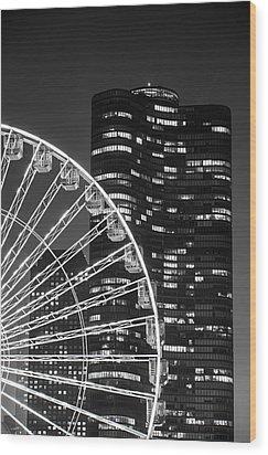 Lake Point Tower Wood Print by Sebastian Musial