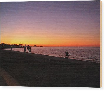 Lake Pontchartrain Sunset Wood Print by Deborah Lacoste