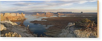 Lake Powell From Alstrum Pt Pan 2 Wood Print by Jeff Brunton